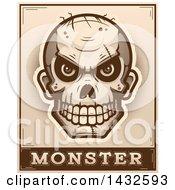 Poster, Art Print Of Halftone Evil Zombie Skull Over Monster Text