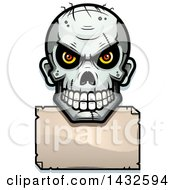 Clipart Of A Halftone Evil Zombie Skull Over A Blank Paper Sign Royalty Free Vector Illustration by Cory Thoman