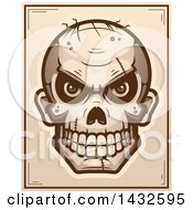 Clipart Of A Halftone Evil Zombie Skull Poster Design Royalty Free Vector Illustration