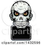 Clipart Of A Halftone Evil Zombie Skull Over A Blank Sign Royalty Free Vector Illustration
