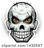 Clipart Of A Halftone Evil Zombie Skull Royalty Free Vector Illustration