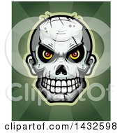 Clipart Of A Halftone Evil Zombie Skull Over Rays Royalty Free Vector Illustration by Cory Thoman