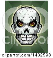 Poster, Art Print Of Halftone Evil Zombie Skull Over Rays