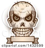 Clipart Of A Halftone Evil Zombie Skull Over A Blank Banner Royalty Free Vector Illustration