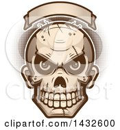 Clipart Of A Halftone Evil Zombie Skull Under A Blank Banner Royalty Free Vector Illustration
