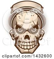 Poster, Art Print Of Halftone Evil Zombie Skull Under A Blank Banner