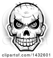 Clipart Of A Halftone Black And White Evil Zombie Skull Royalty Free Vector Illustration