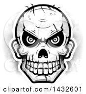 Poster, Art Print Of Halftone Black And White Evil Zombie Skull