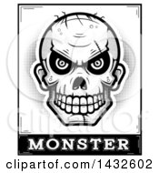 Clipart Of A Halftone Black And White Evil Zombie Skull Over Monster Text Royalty Free Vector Illustration