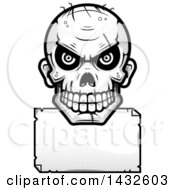 Clipart Of A Halftone Black And White Evil Zombie Skull Over A Blank Paper Sign Royalty Free Vector Illustration