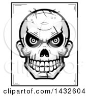 Clipart Of A Halftone Black And White Evil Zombie Skull Poster Design Royalty Free Vector Illustration