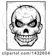 Poster, Art Print Of Halftone Black And White Evil Zombie Skull Poster Design