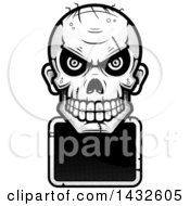 Poster, Art Print Of Halftone Black And White Evil Zombie Skull Over A Blank Sign