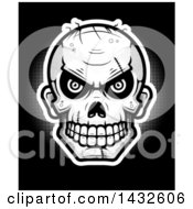 Halftone Evil Zombie Skull On Black