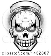 Halftone Black And White Evil Zombie Skull Under A Blank Banner