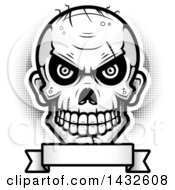Halftone Black And White Evil Zombie Skull Over A Blank Banner