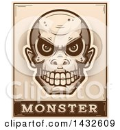Poster, Art Print Of Halftone Goblin Skull Over Monster Text