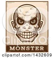 Poster, Art Print Of Halftone Goblin Skull Over Monster Text