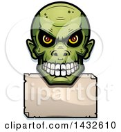 Clipart Of A Halftone Goblin Skull Over A Blank Paper Sign Royalty Free Vector Illustration by Cory Thoman