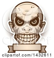 Clipart Of A Halftone Goblin Skull Over A Blank Banner Royalty Free Vector Illustration