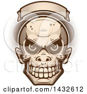 Clipart Of A Halftone Goblin Skull Under A Blank Banner Royalty Free Vector Illustration