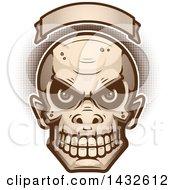 Poster, Art Print Of Halftone Goblin Skull Under A Blank Banner