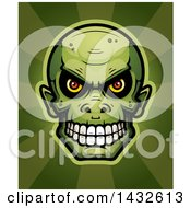 Clipart Of A Halftone Goblin Skull Over Rays Royalty Free Vector Illustration by Cory Thoman