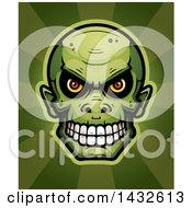 Poster, Art Print Of Halftone Goblin Skull Over Rays