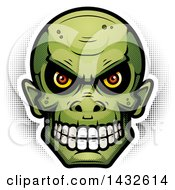 Clipart Of A Halftone Goblin Skull Royalty Free Vector Illustration by Cory Thoman