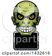 Clipart Of A Halftone Goblin Skull Over A Blank Sign Royalty Free Vector Illustration by Cory Thoman