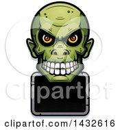 Poster, Art Print Of Halftone Goblin Skull Over A Blank Sign
