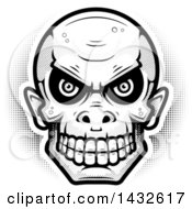 Clipart Of A Halftone Black And White Goblin Skull Royalty Free Vector Illustration by Cory Thoman