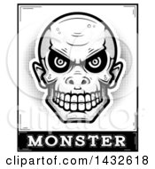 Clipart Of A Halftone Black And White Goblin Skull Over Monster Text Royalty Free Vector Illustration by Cory Thoman