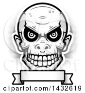 Clipart Of A Halftone Black And White Goblin Skull Over A Blank Banner Royalty Free Vector Illustration
