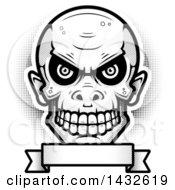 Poster, Art Print Of Halftone Black And White Goblin Skull Over A Blank Banner