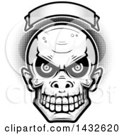 Clipart Of A Halftone Black And White Goblin Skull Under A Blank Banner Royalty Free Vector Illustration