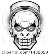 Poster, Art Print Of Halftone Black And White Goblin Skull Under A Blank Banner