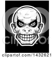 Poster, Art Print Of Halftone Goblin Skull On Black