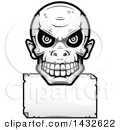Clipart Of A Halftone Black And White Goblin Skull Over A Blank Paper Sign Royalty Free Vector Illustration by Cory Thoman