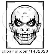 Clipart Of A Halftone Black And White Goblin Skull Poster Design Royalty Free Vector Illustration by Cory Thoman