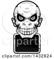 Clipart Of A Halftone Black And White Goblin Skull Over A Blank Sign Royalty Free Vector Illustration by Cory Thoman