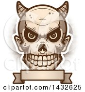 Clipart Of A Halfton Devil Skull Over A Blank Banner Royalty Free Vector Illustration