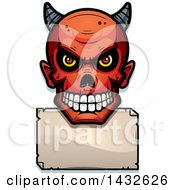 Clipart Of A Halftone Devil Skull Over A Blank Paper Sign Royalty Free Vector Illustration by Cory Thoman