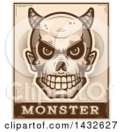 Clipart Of A Halftone Devil Skull Over Monster Text Royalty Free Vector Illustration by Cory Thoman
