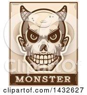 Poster, Art Print Of Halftone Devil Skull Over Monster Text