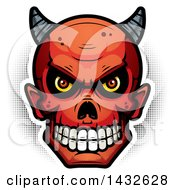 Clipart Of A Halfton Devil Skull Royalty Free Vector Illustration by Cory Thoman