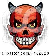 Clipart Of A Halfton Devil Skull Royalty Free Vector Illustration