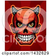 Clipart Of A Halftone Devil Skull Over Red Rays Royalty Free Vector Illustration