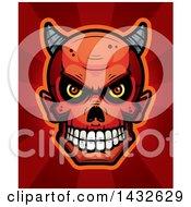 Poster, Art Print Of Halftone Devil Skull Over Red Rays