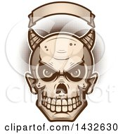 Clipart Of A Halfton Devil Skull Under A Blank Banner Royalty Free Vector Illustration